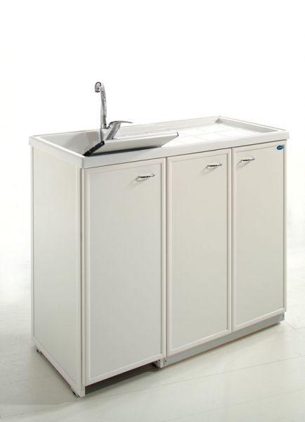 Lavatoio con piano coprilavatrice e ante di copertura 1 - Mobile coprilavatrice con lavatoio ...